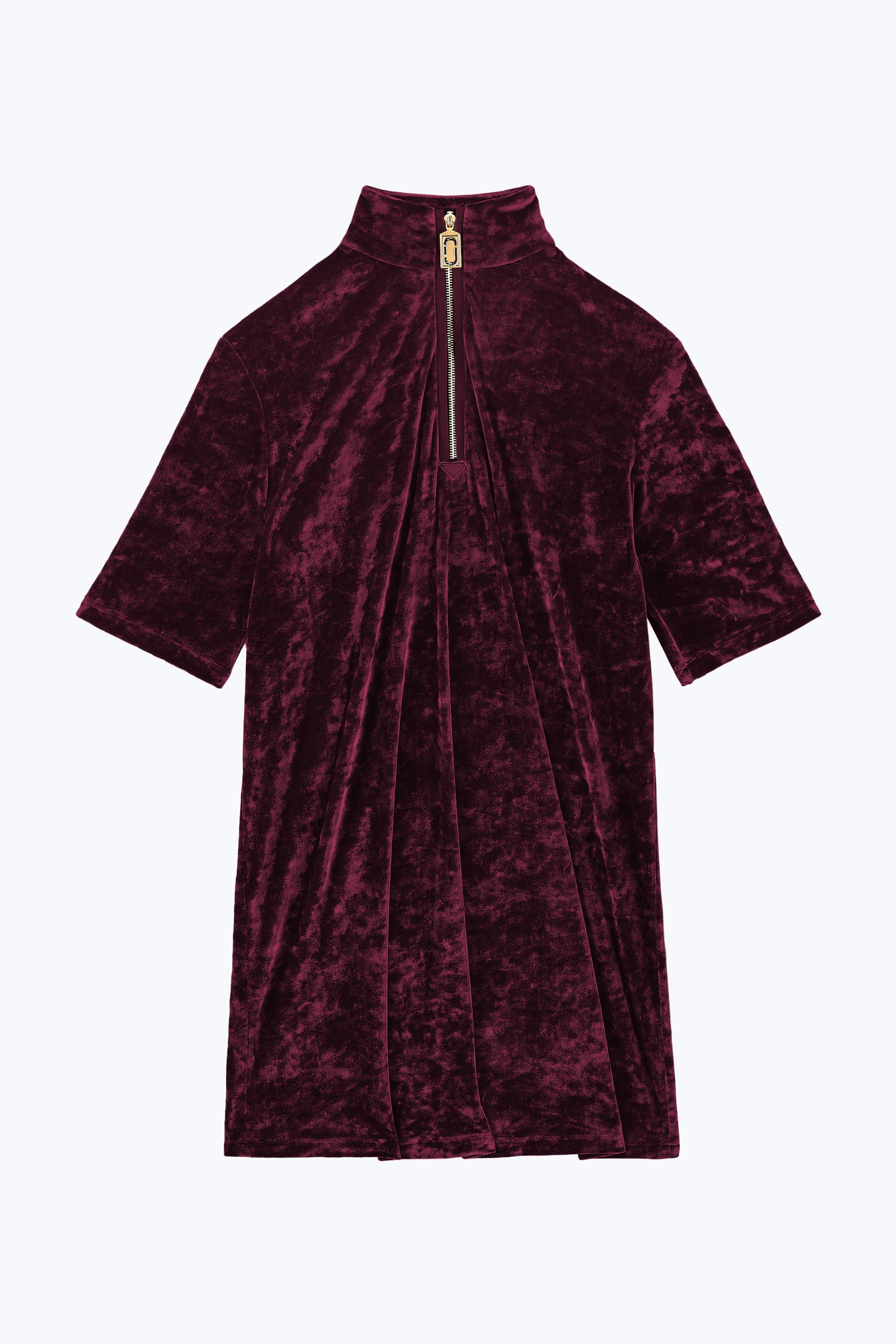 Burgundy Velvet Zip Dress