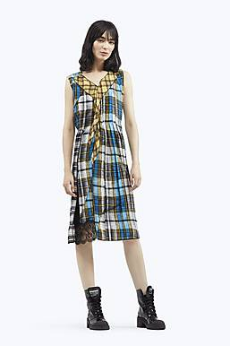 Pleated Front Panel Plaid Dress BLUE MULTI ...