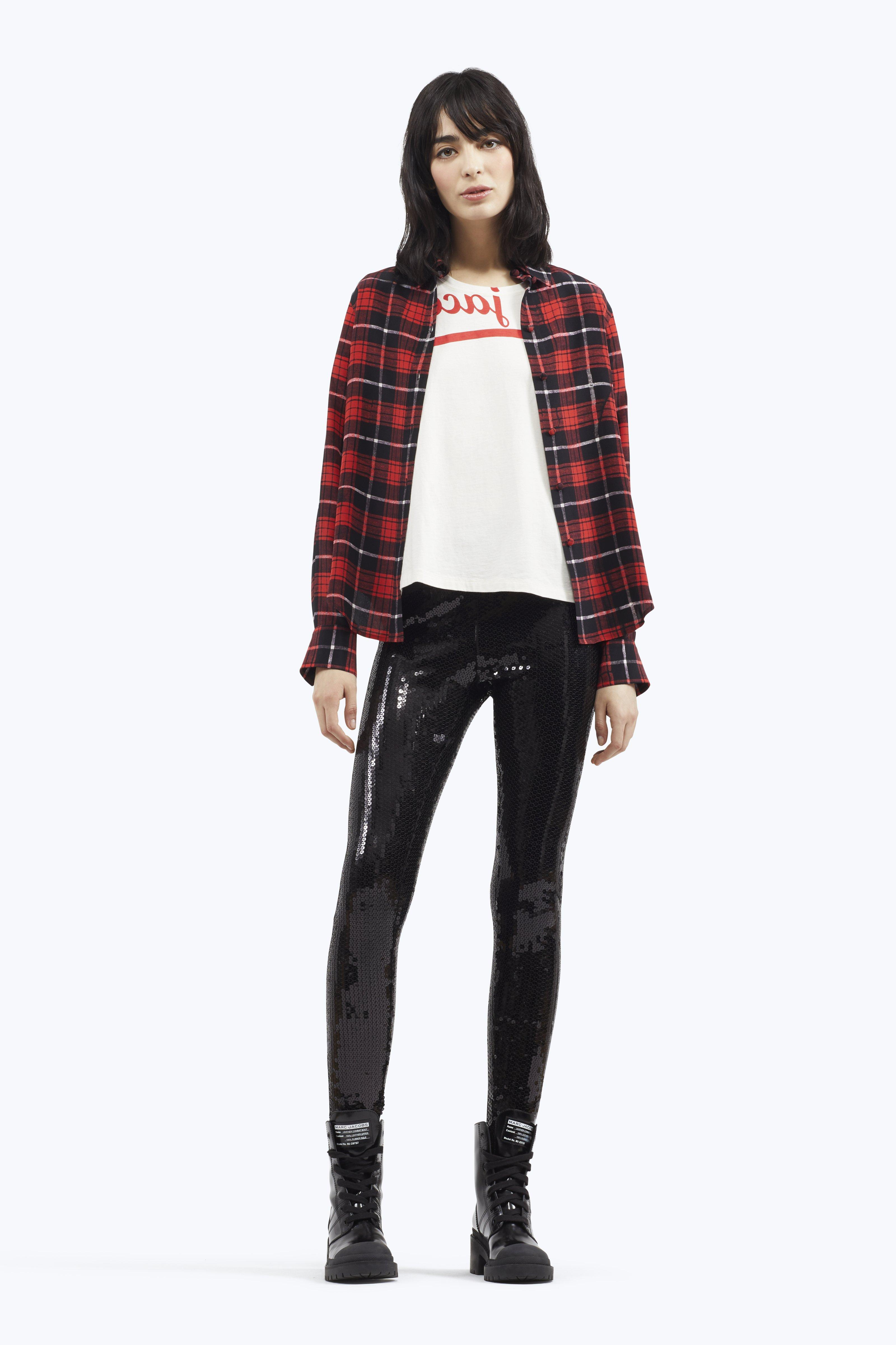 Plaid Silk Crepe De Chine Shirt in Red from MARC JACOBS