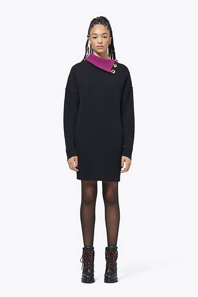 Pieced Turtleneck Dress