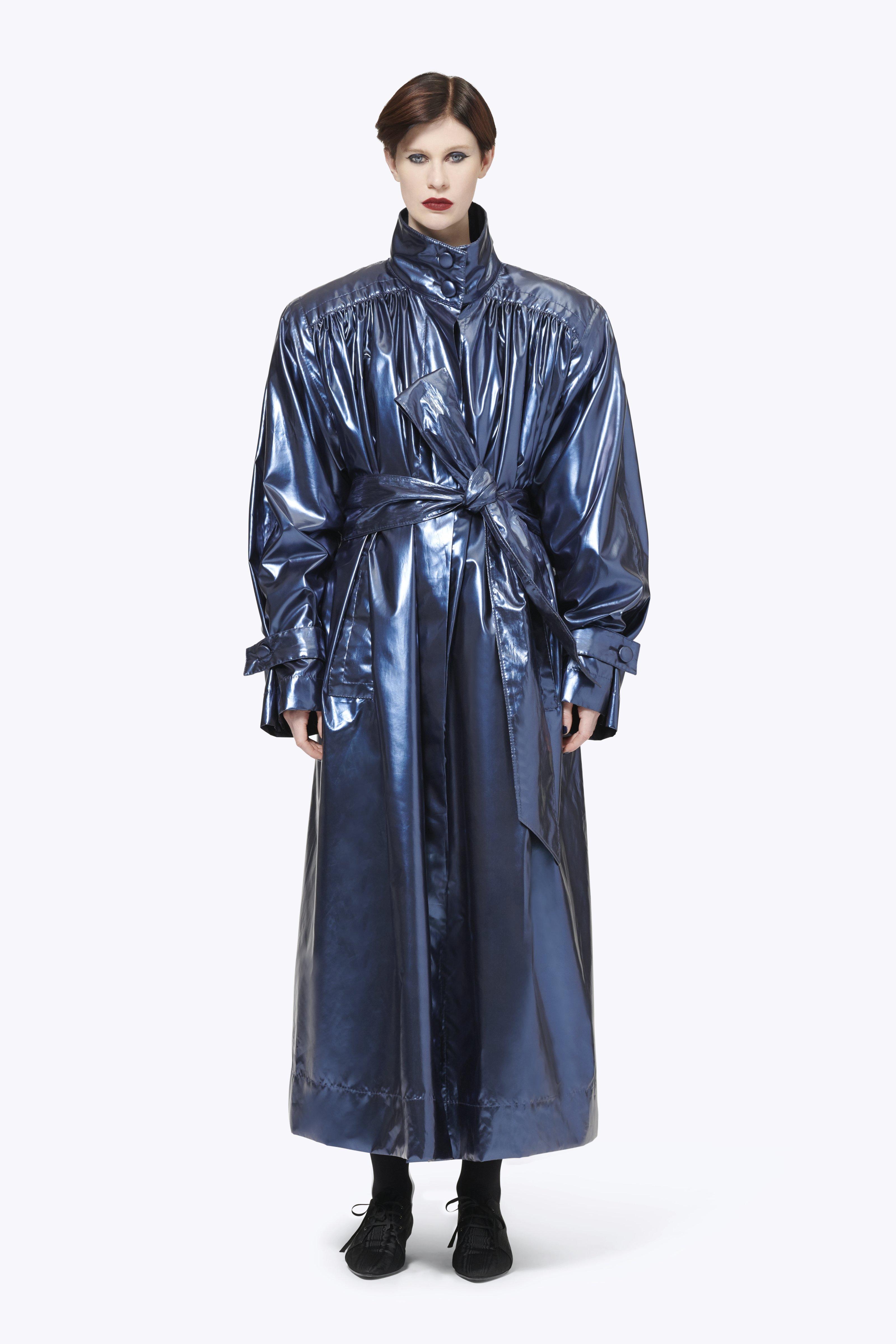 Belted Metallic Vinyl Trench Coat, Blue