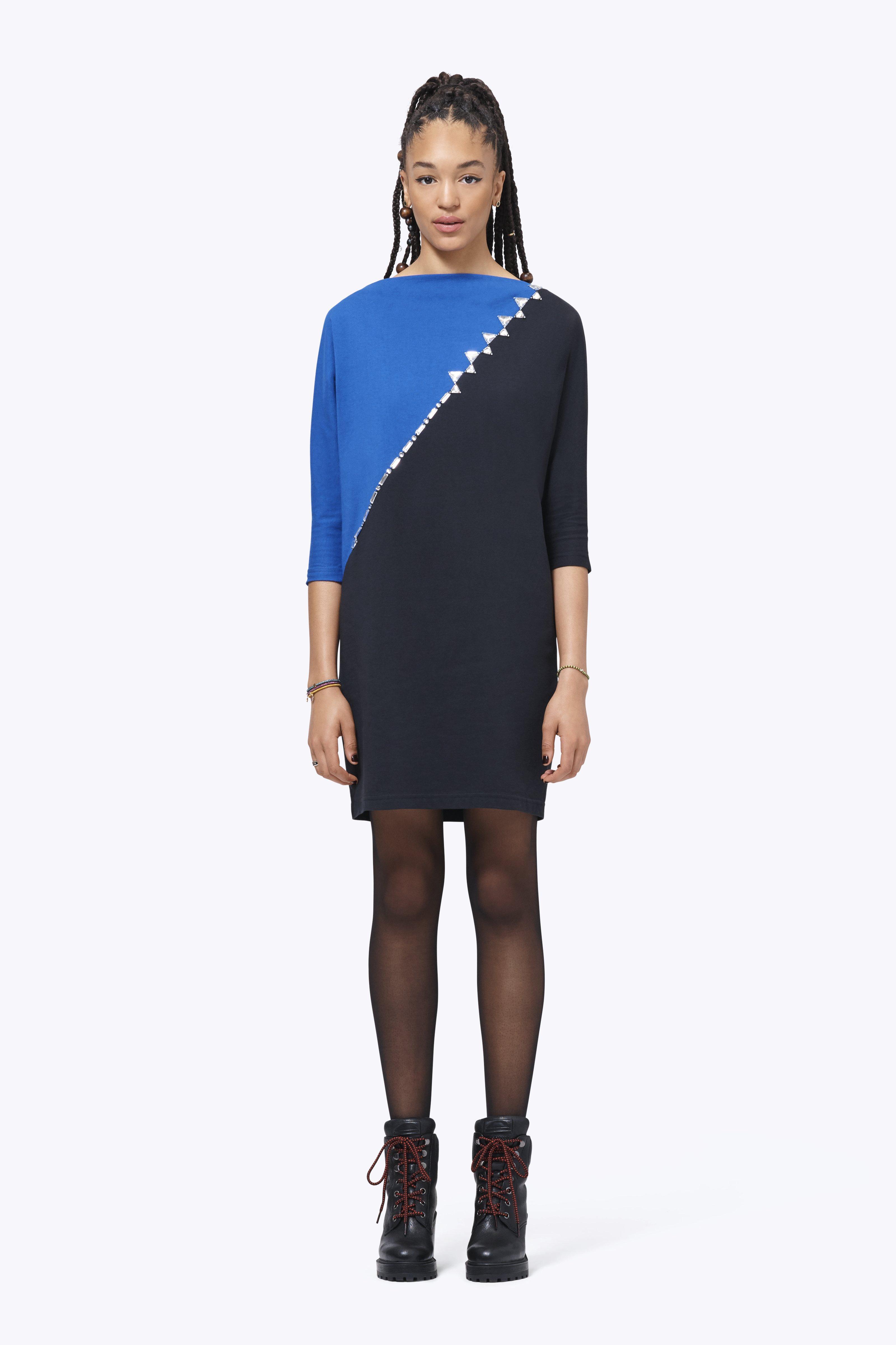 Crystal-Trim Colorblock Dress