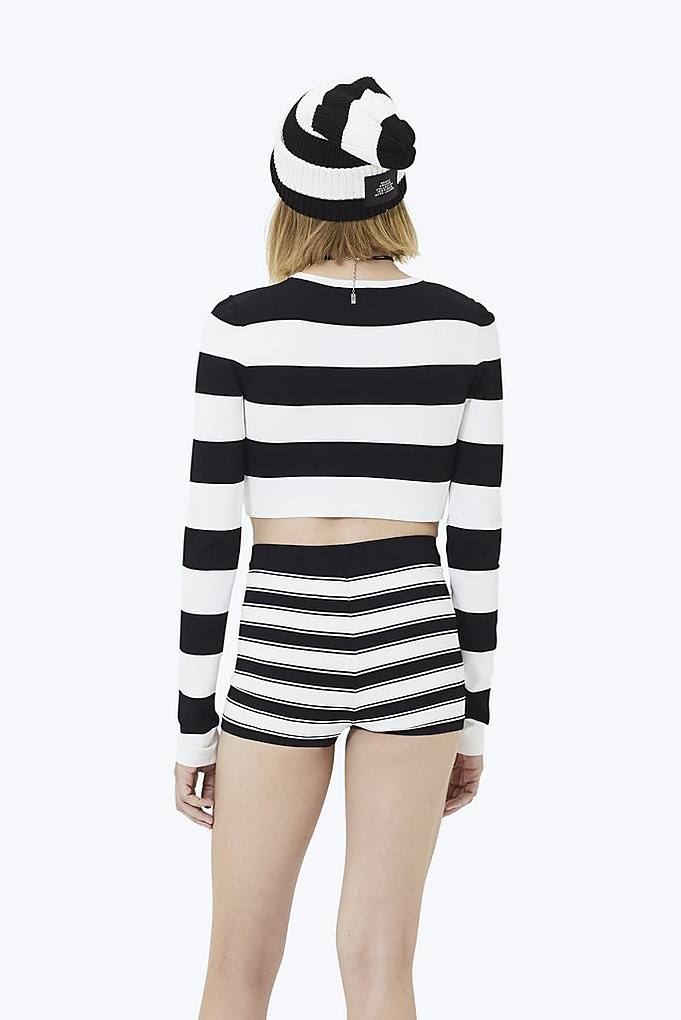 31accd2947ab2 Wide Striped Long-Sleeve Crop Top