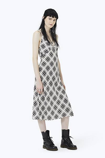 df959056c15 Plaid Strap Midi Dress ...