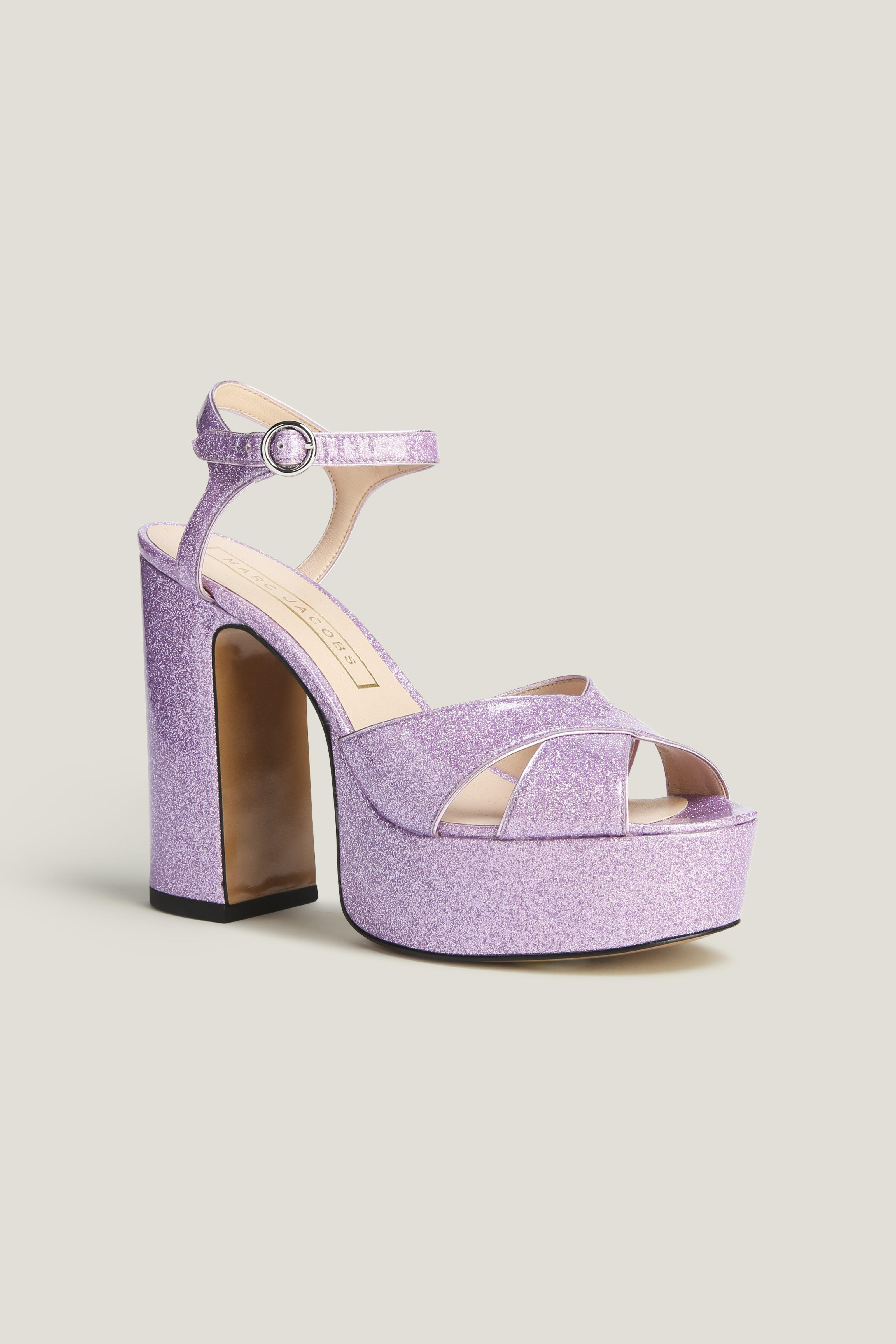 43998573bbbec Marc Jacobs Woman Debbie Glittered Patent-Leather Platform Sandals ...