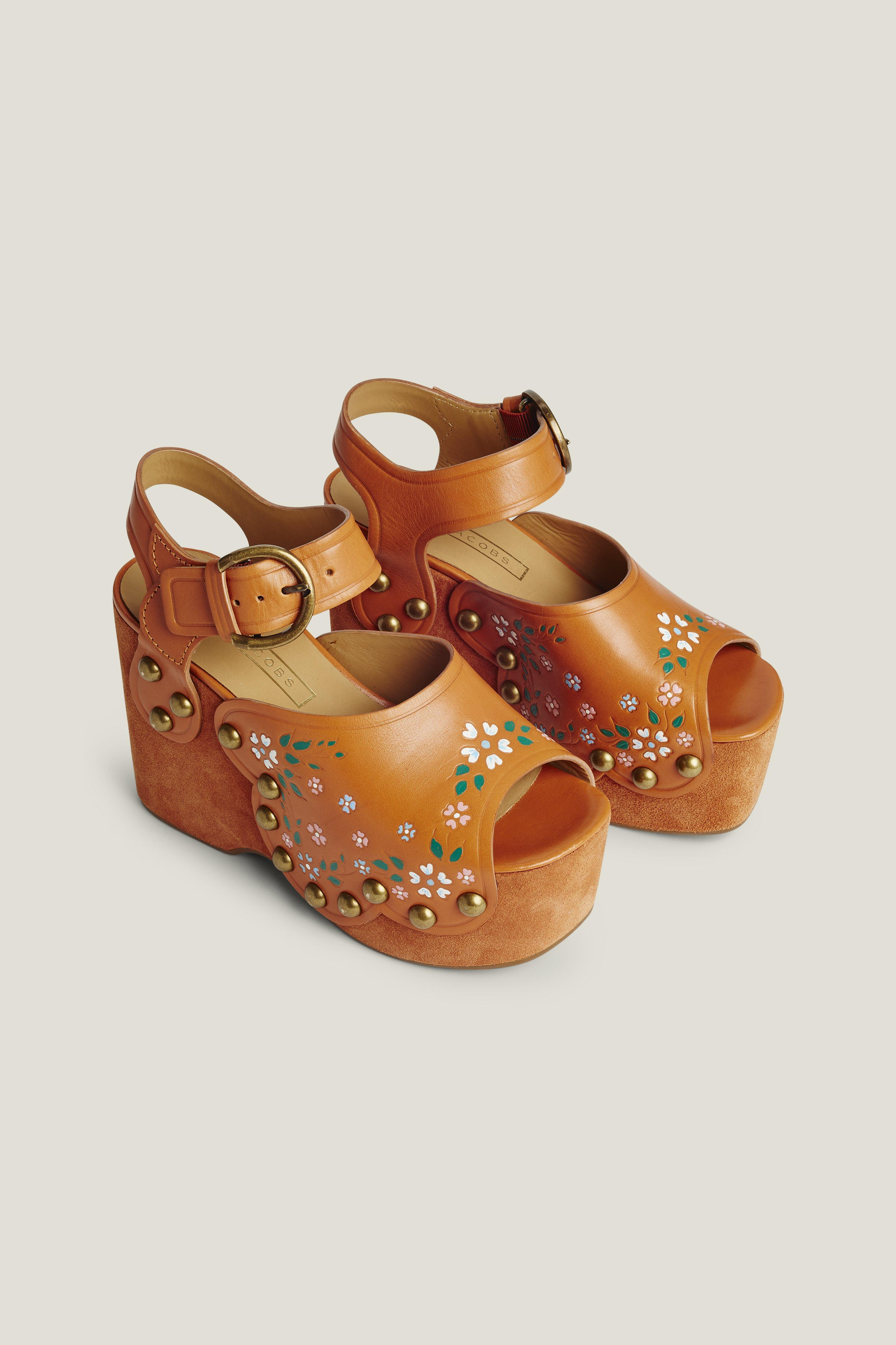MARC JACOBS Wildflower Leather Wedge Sandals in Rust