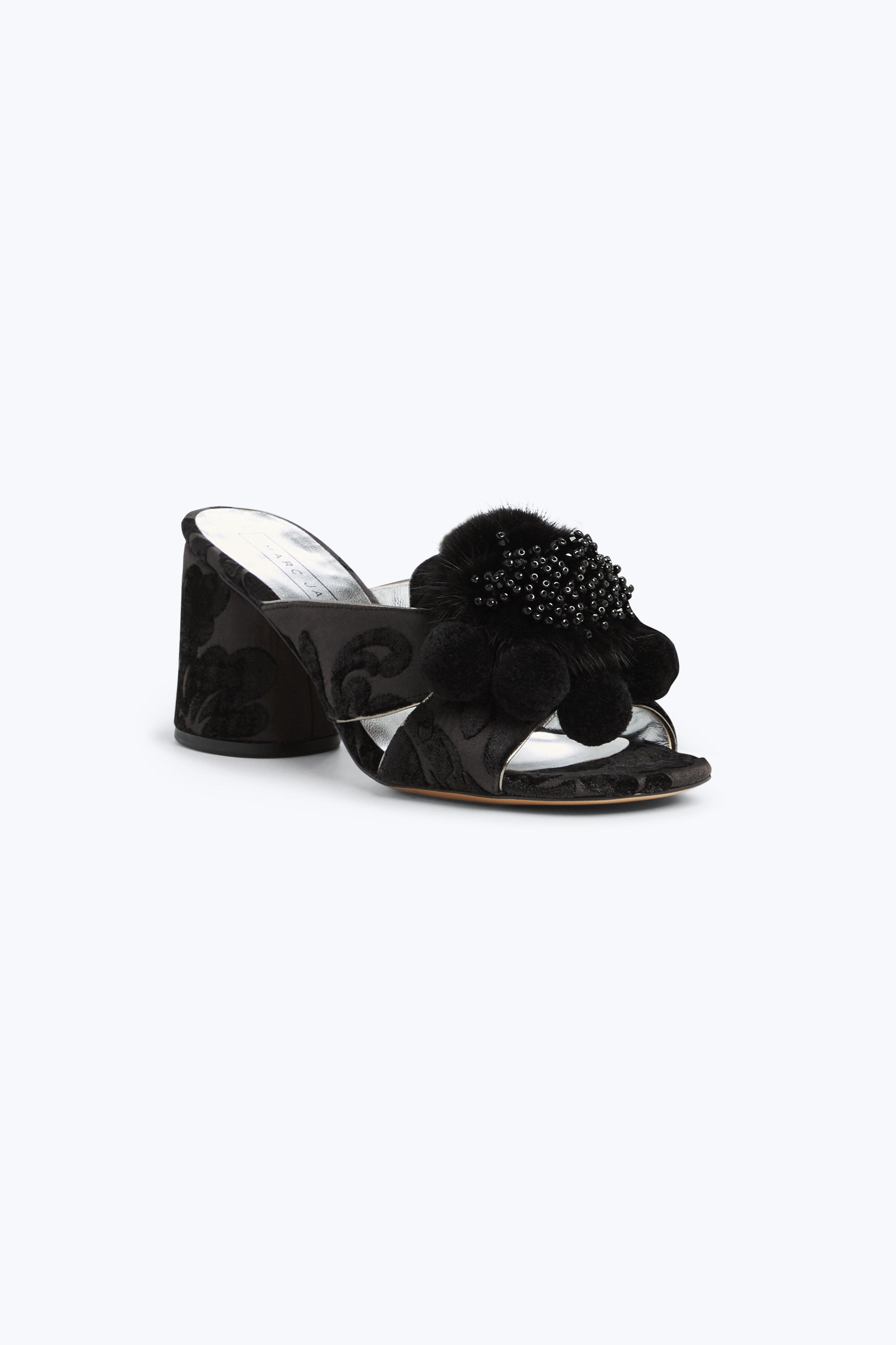 Women'S Aurora Embellished Faux-Fur & Pom-Pom Block Heel Slide Sandals, Black