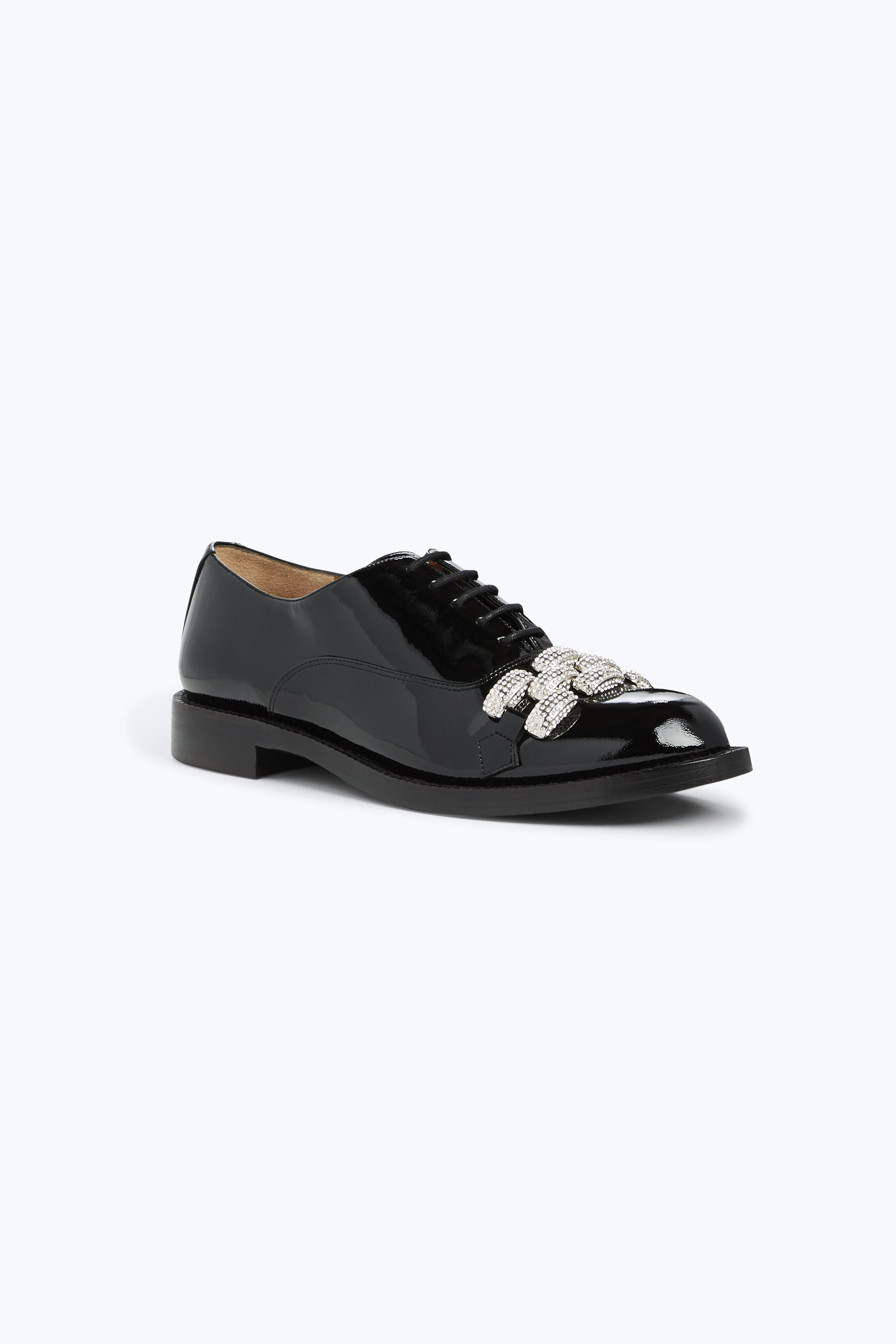 Black Patent Dara Chain-Link Oxfords