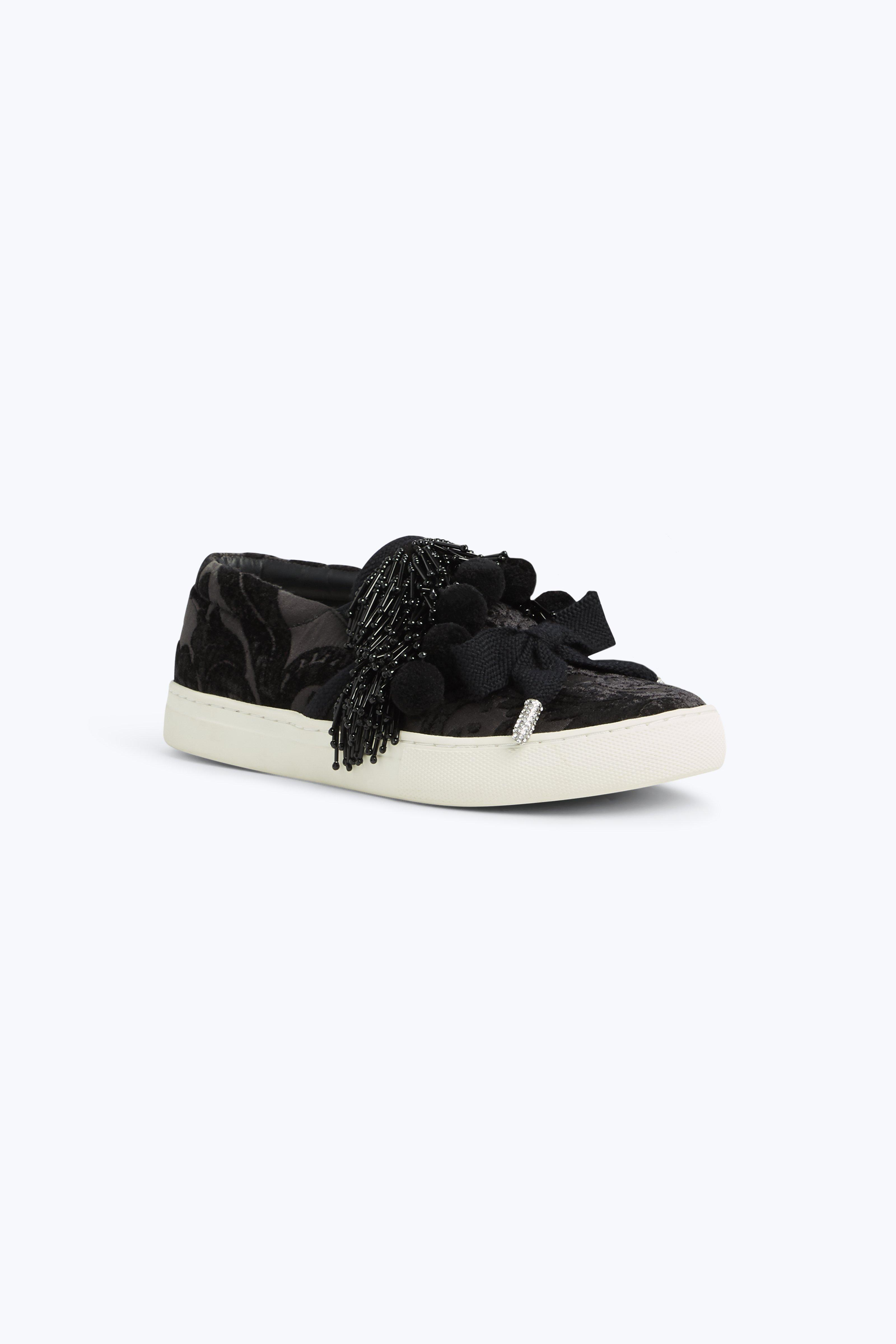 Mercer Pompom Embellished Sneakers in Black