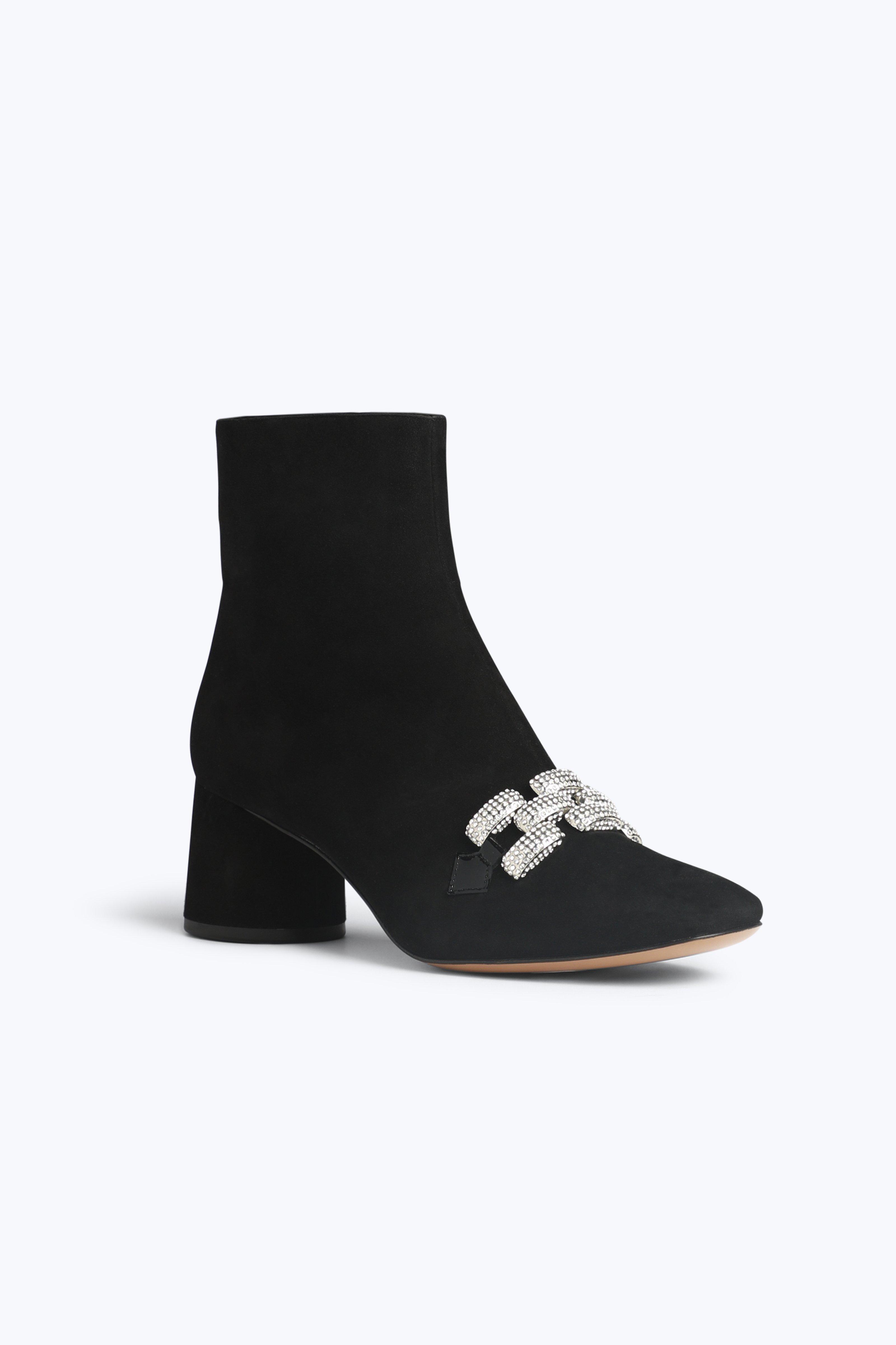 Marc Jacobs Women's Embellished Chain Suede Block Heel Booties F6s0xO