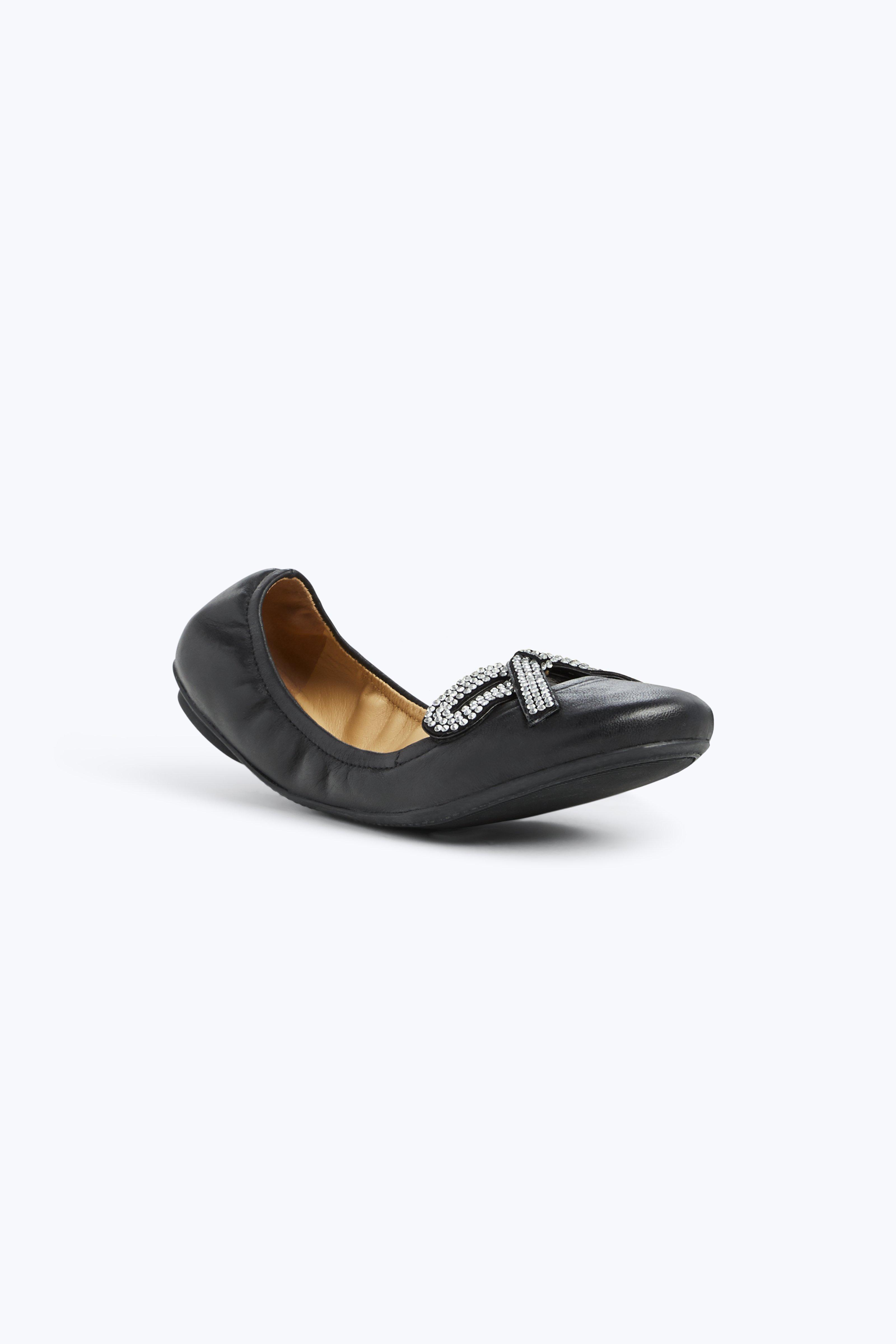 Willa Strass Leather Ballet Flats, Black