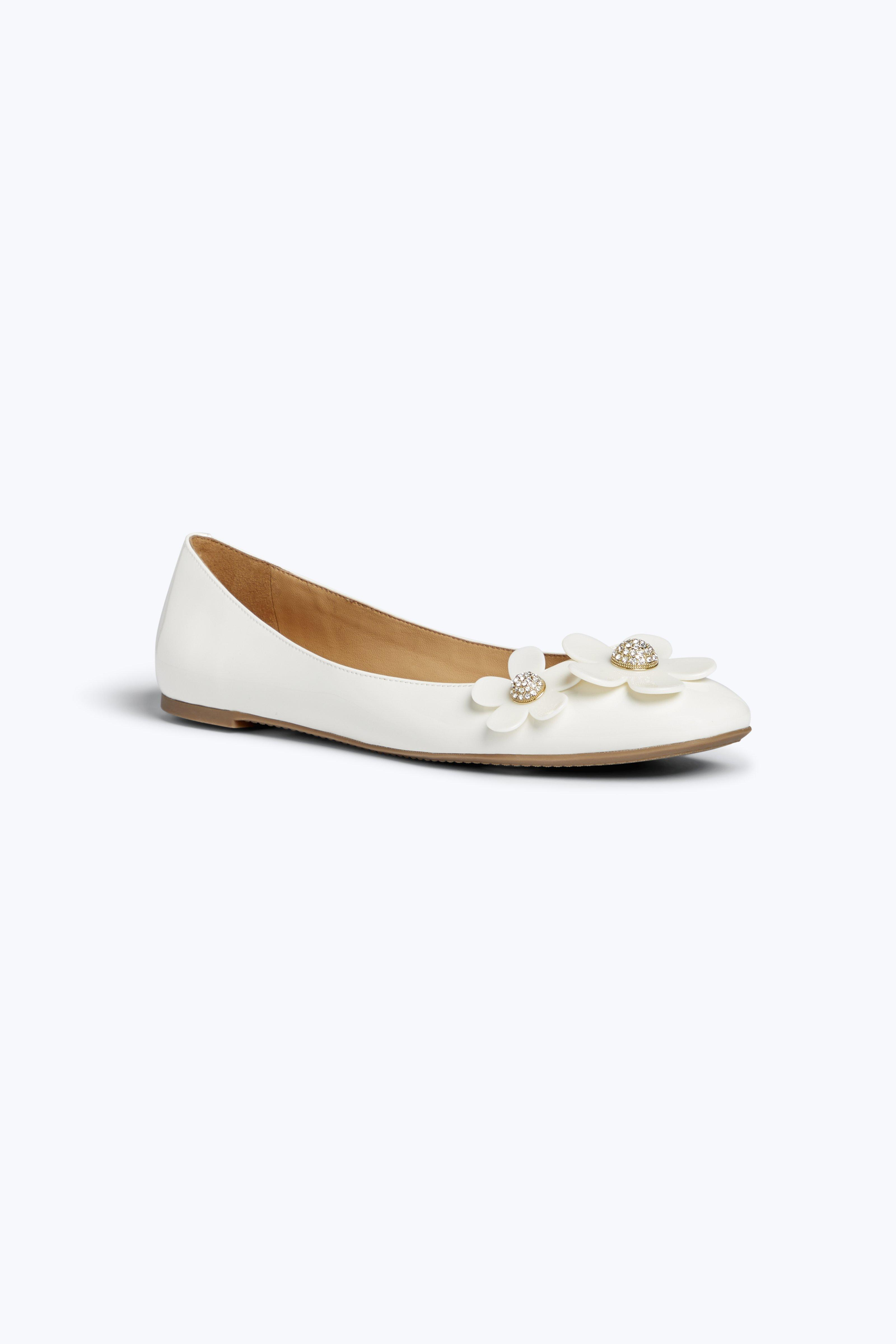 Daisy Patent Leather Ballet Flats, White