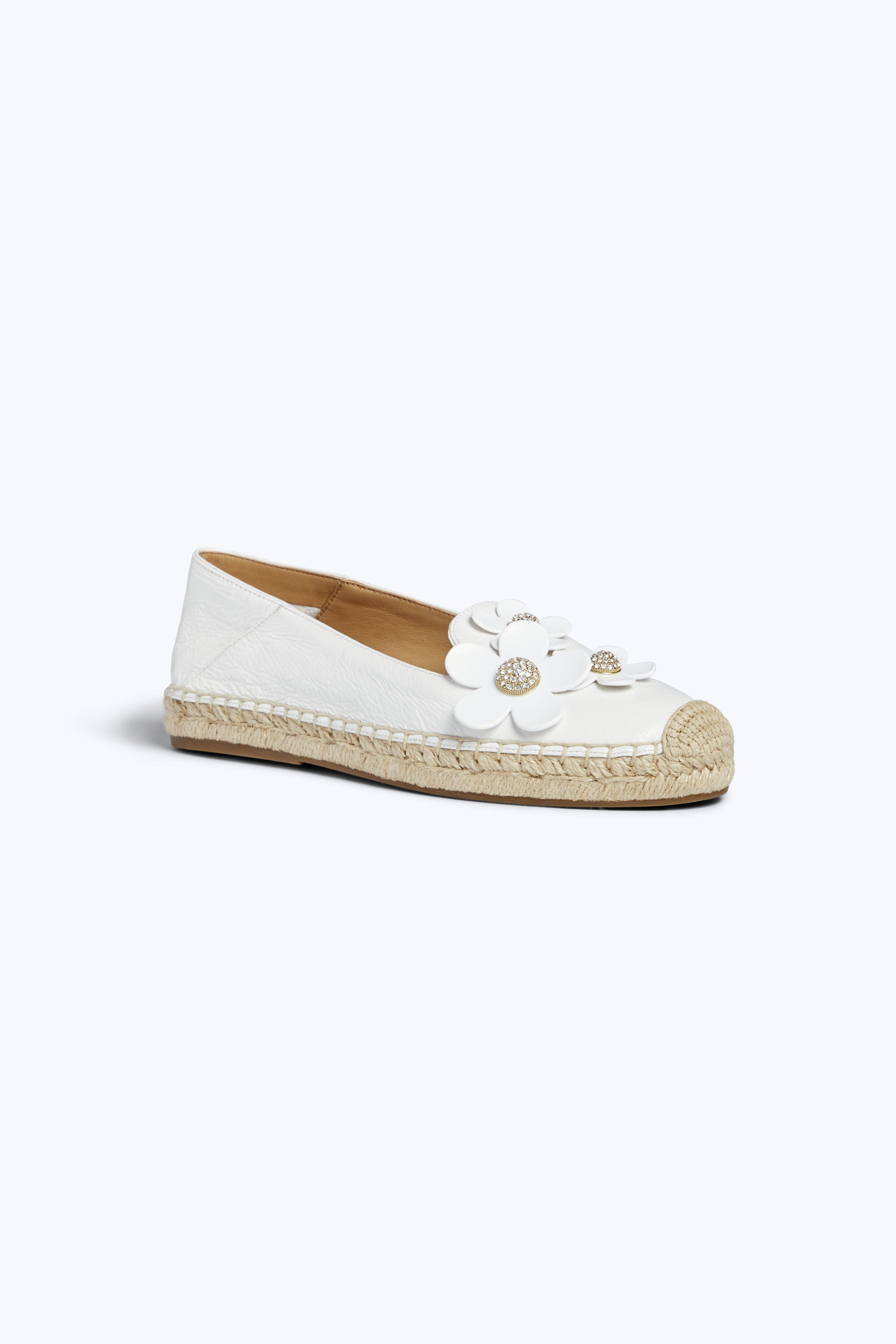 Women'S Patent Leather Daisy Embellished Espadrille Flats, White