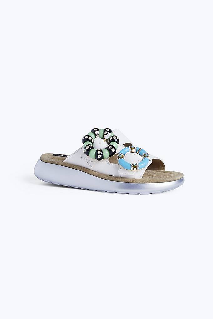 Sage embellished leather slides Marc Jacobs uDoKjUL