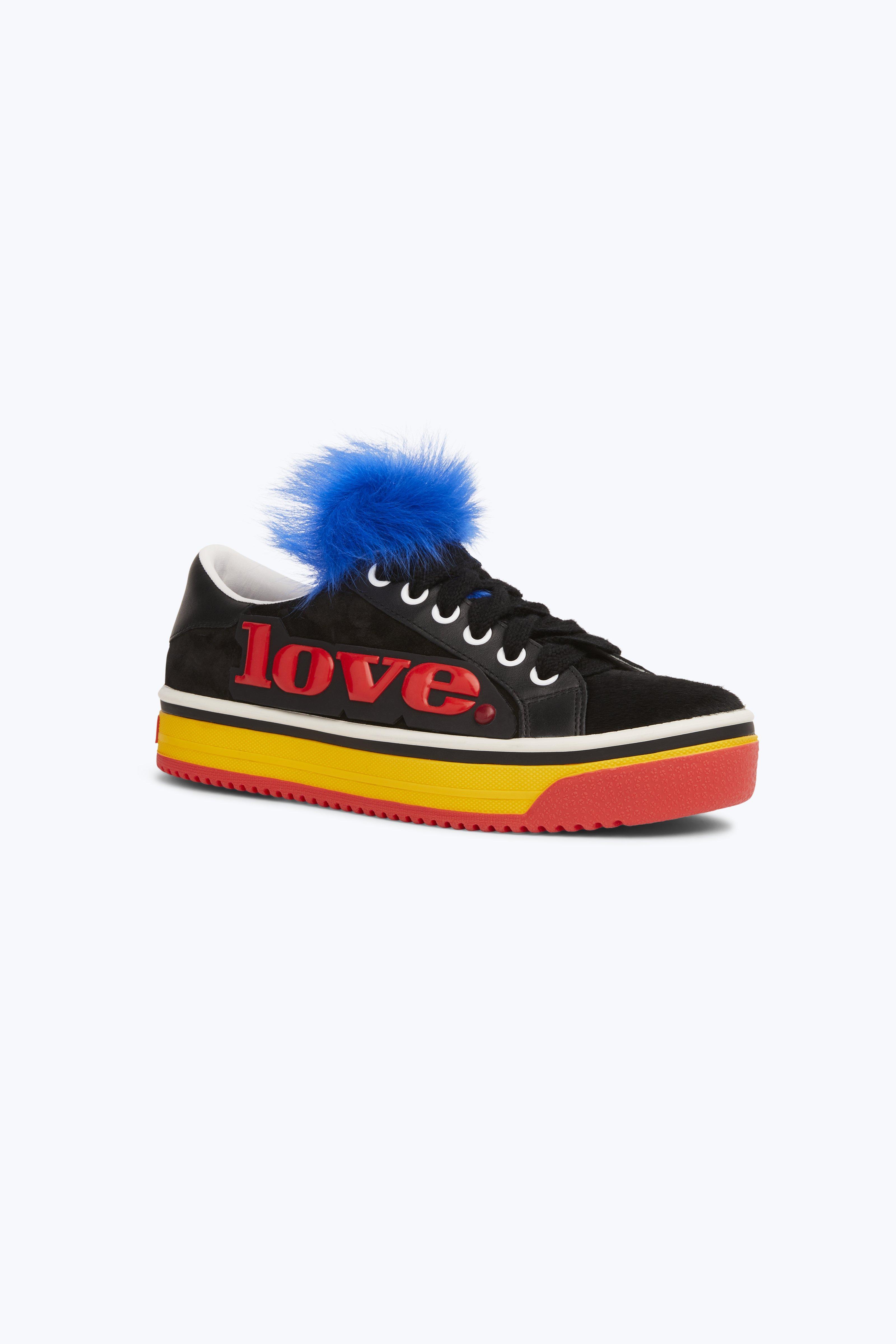 Empire Love Genuine Shearling & Calf Hair Trim Sneaker in Black