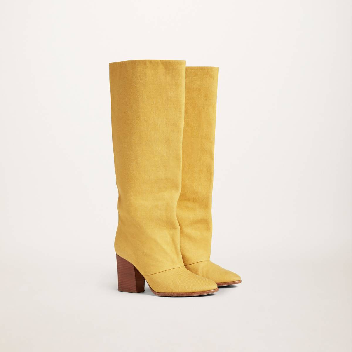 Denim knee-high straight boot with block heel. | MARC JACOBS Women\\'s Dolly Boots in Yellow, Size 37