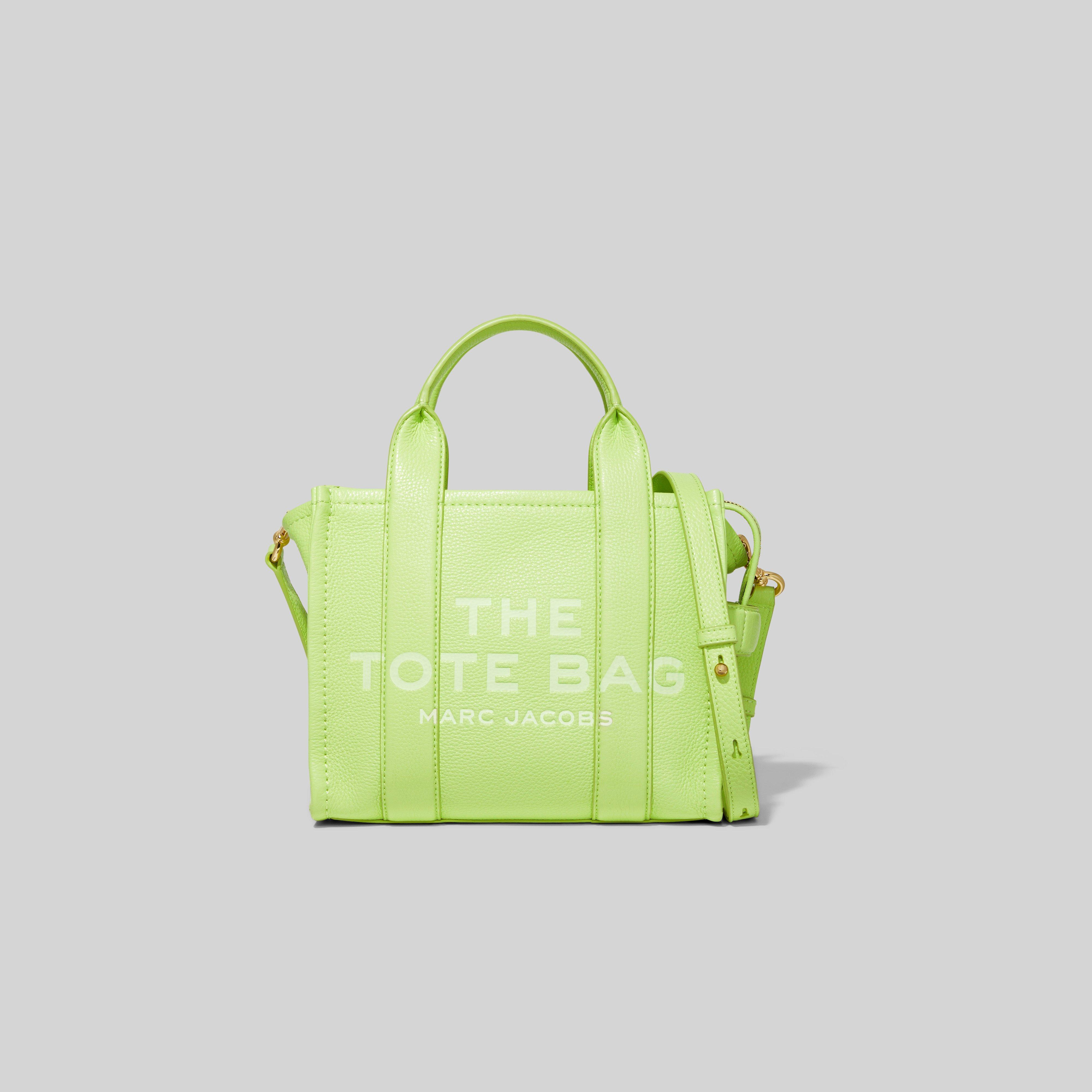 The Leather Mini Traveler Tote Bag In Shadow Lime