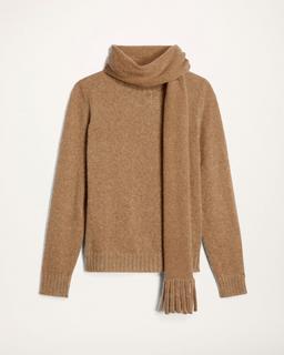 Melange Crewneck Sweater With Scarf