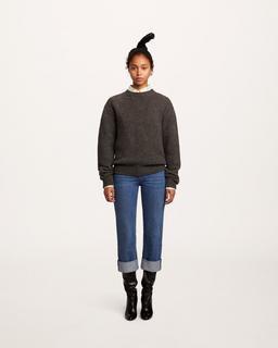 Irregular Stitch Crewneck Sweater--Alternate view