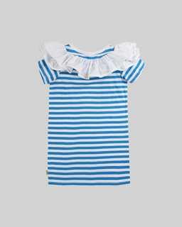 마크 제이콥스 Marc Jacobs Ruffle Rosette Stripe Dress,WHITE/BLUE