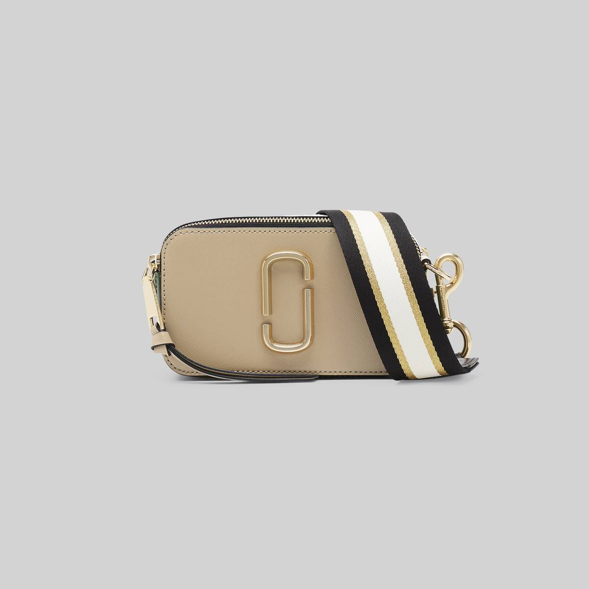 Small camera-style bag in Saffiano leather with an adjustable crossbody strap. | MARC JACOBS Women\\'s The Snapshot Bag in Sandcastle Multi