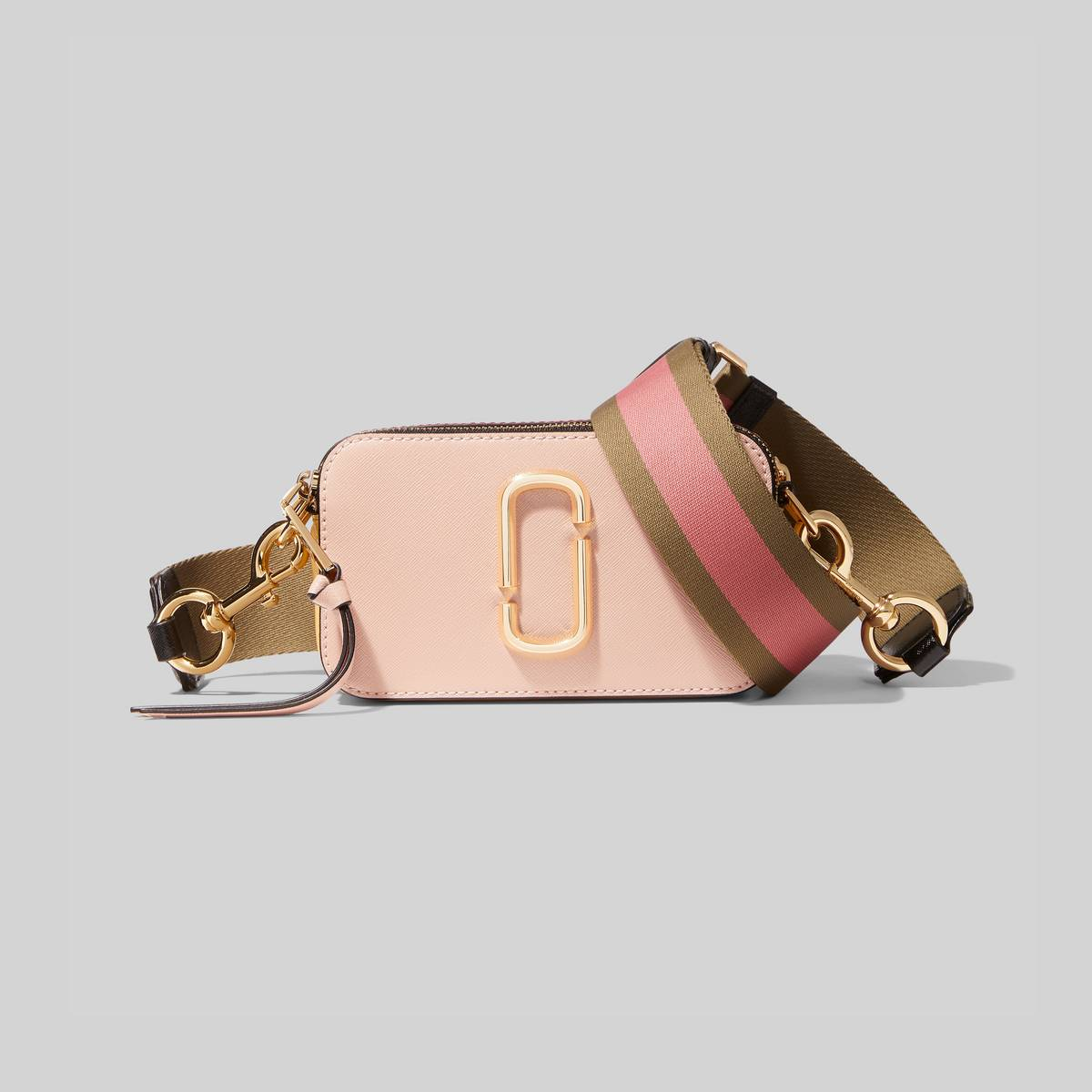 Small camera-style bag in Saffiano leather with an adjustable crossbody strap. Add a strap for a look thats uniquely yours. | MARC JACOBS Women\\'s The Snapshot Bag in New Rose Multi