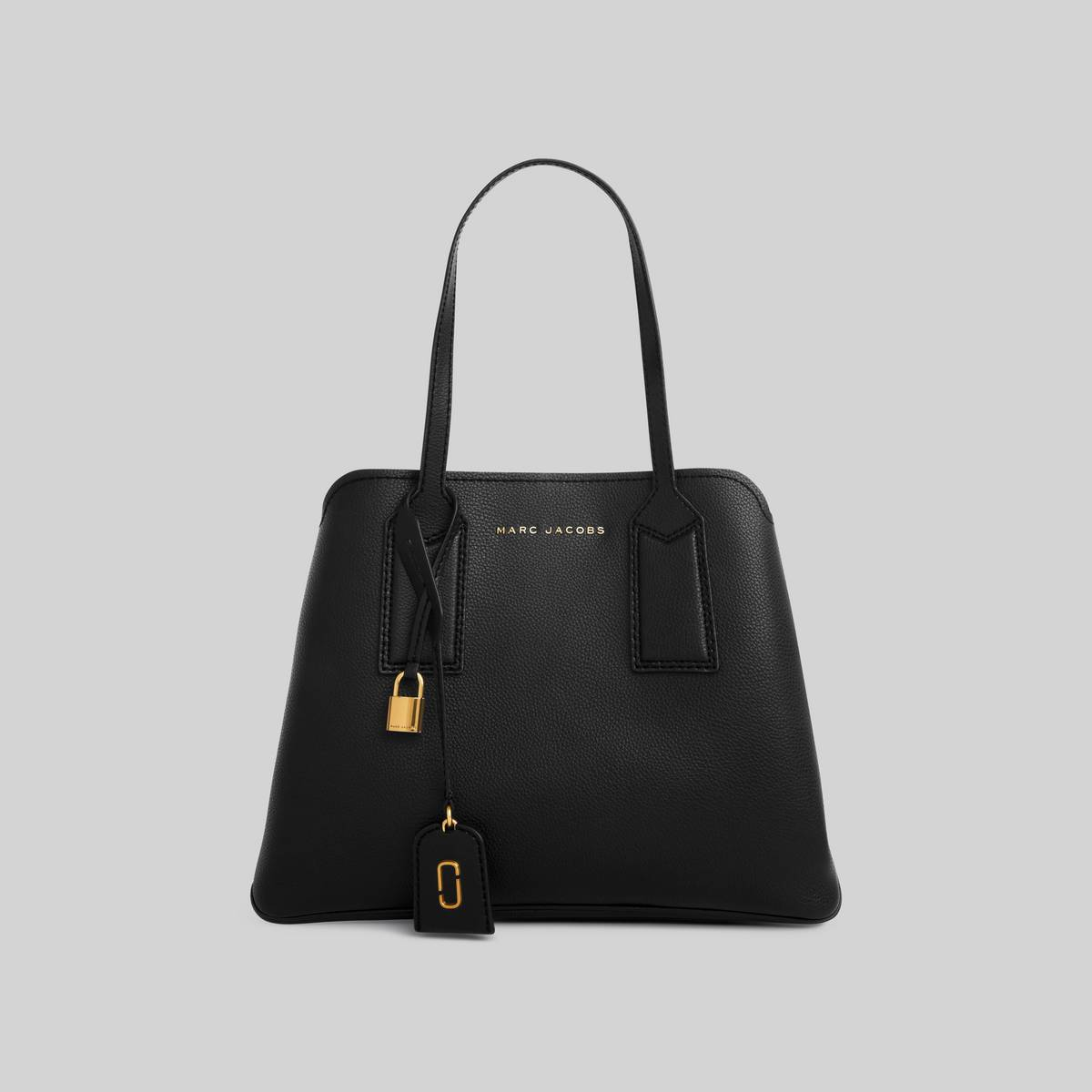 Spacious leather tote with shoulder straps and 3 interior sections. | MARC JACOBS Women\\'s The Editor Shoulder Bag in Black
