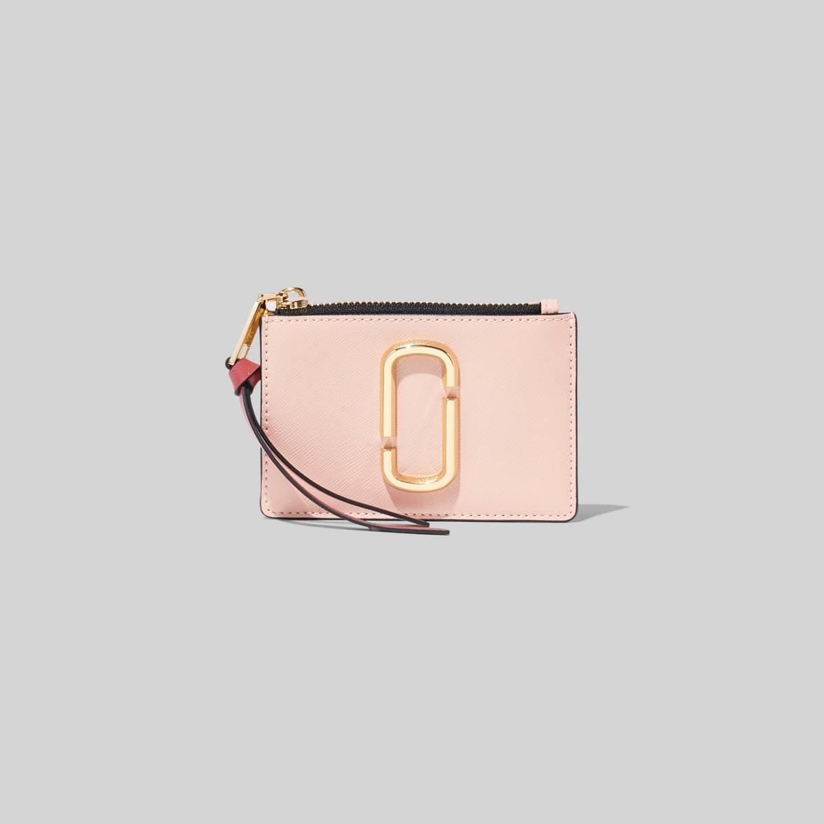 Mini leather wallet with keyring and Double-J hardware. | MARC JACOBS Women\\'s The Snapshot Top-Zip Multi Wallet in New Rose Multi
