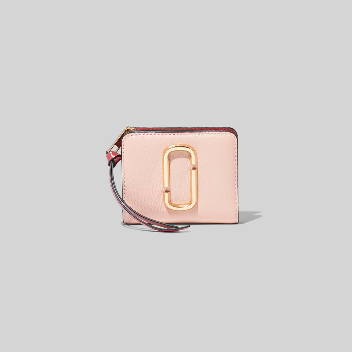 Mini leather wallet with Double-J hardware. | MARC JACOBS Women\\'s The Snapshot Mini Compact Wallet in New Rose Multi