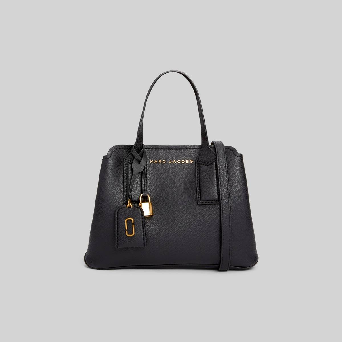 Leather tote with shoulder straps and 3 interior sections. | MARC JACOBS Women\\'s The Editor Crossbody Bag in Black