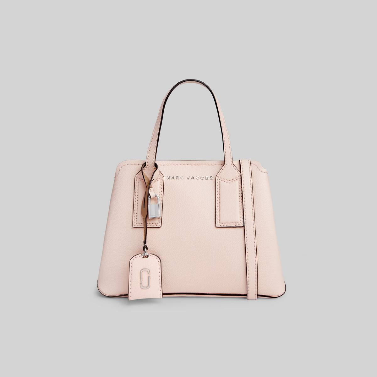 Leather tote with shoulder straps and 3 interior sections. | MARC JACOBS Women\\'s The Editor Crossbody Bag in Pearl Pink