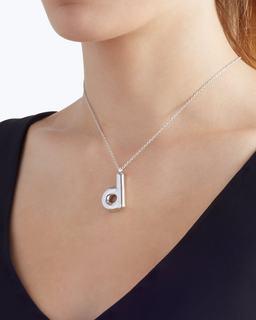 Bubbly D Pendant Necklace--Alternate view