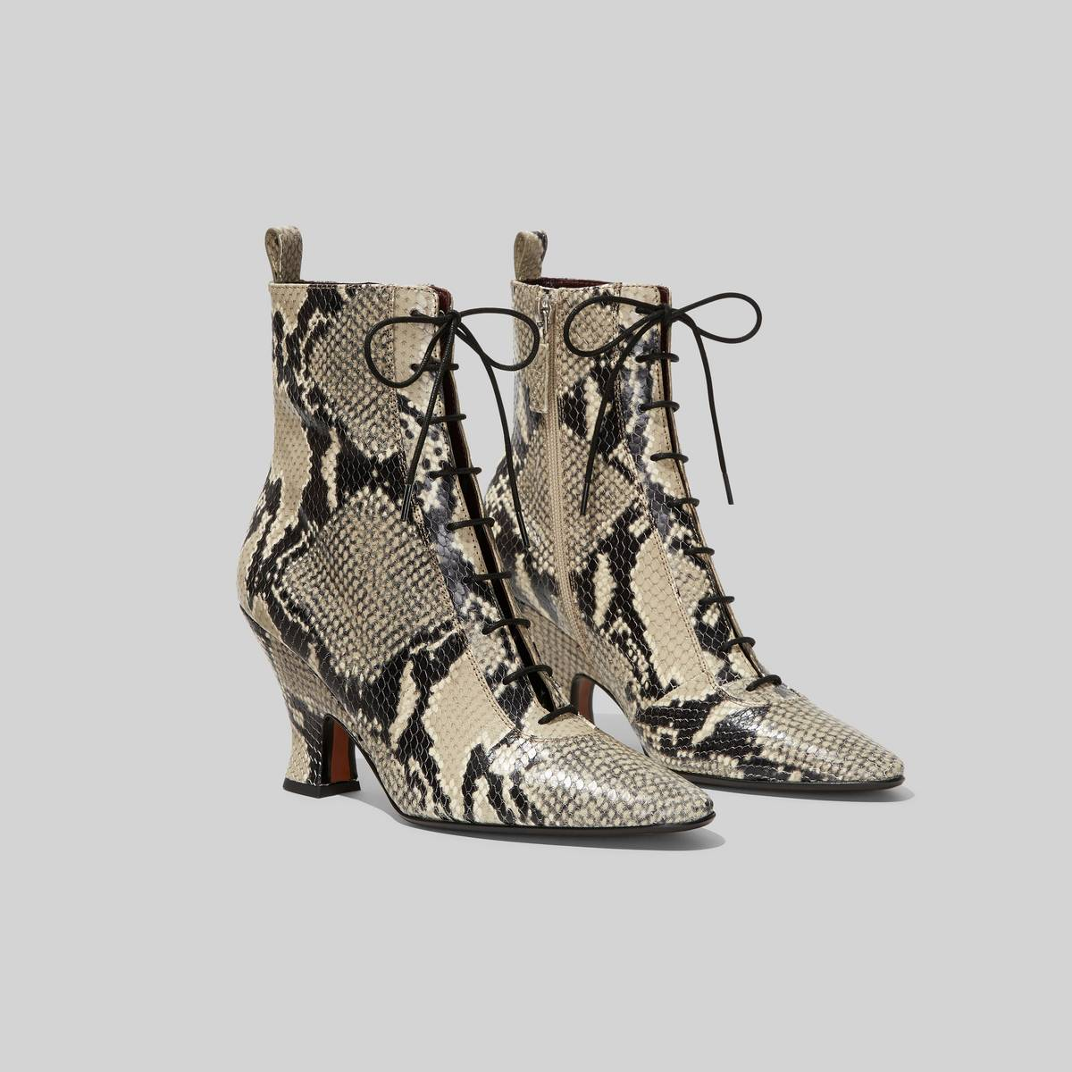 Vintage-inspired leather boot on a sculpted heel. | MARC JACOBS Women\\'s The Victorian Boots Shoes in Natural, Size 35