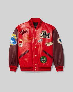 마크 제이콥스 Marc Jacobs The Mens Varsity Jacket,Red/Burgundy