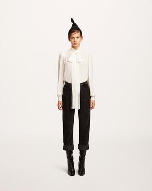 Silk Blouse With Fringed Scarf Tie--Alternate view