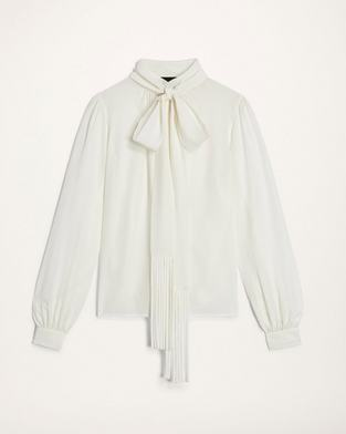 Silk Blouse With Fringed Scarf Tie