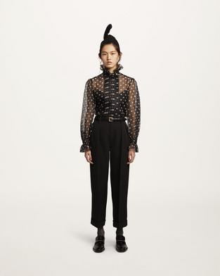 Silk Ruffle-Collar Blouse--Alternate view