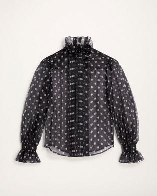 Silk Ruffle-Collar Blouse