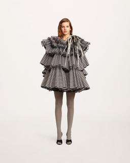 Pleated Tiered Organza Dress--Alternate view