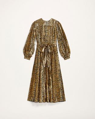 Pleated Lamé Dress