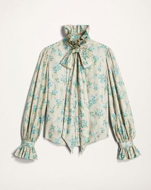 Silk Chiné Ruffle-Collar Blouse