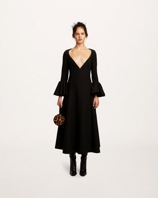 Wool Deep V-Neck Dress--Alternate view