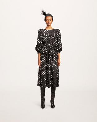 Polka-Dot Print Silk Dress--Alternate view