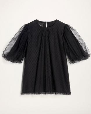 Flocked Dot Tulle Evening Tee