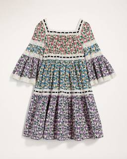 Marc by marc jacobs Tiered Prairie Dress With Flared Sleeve and Lace Inserts