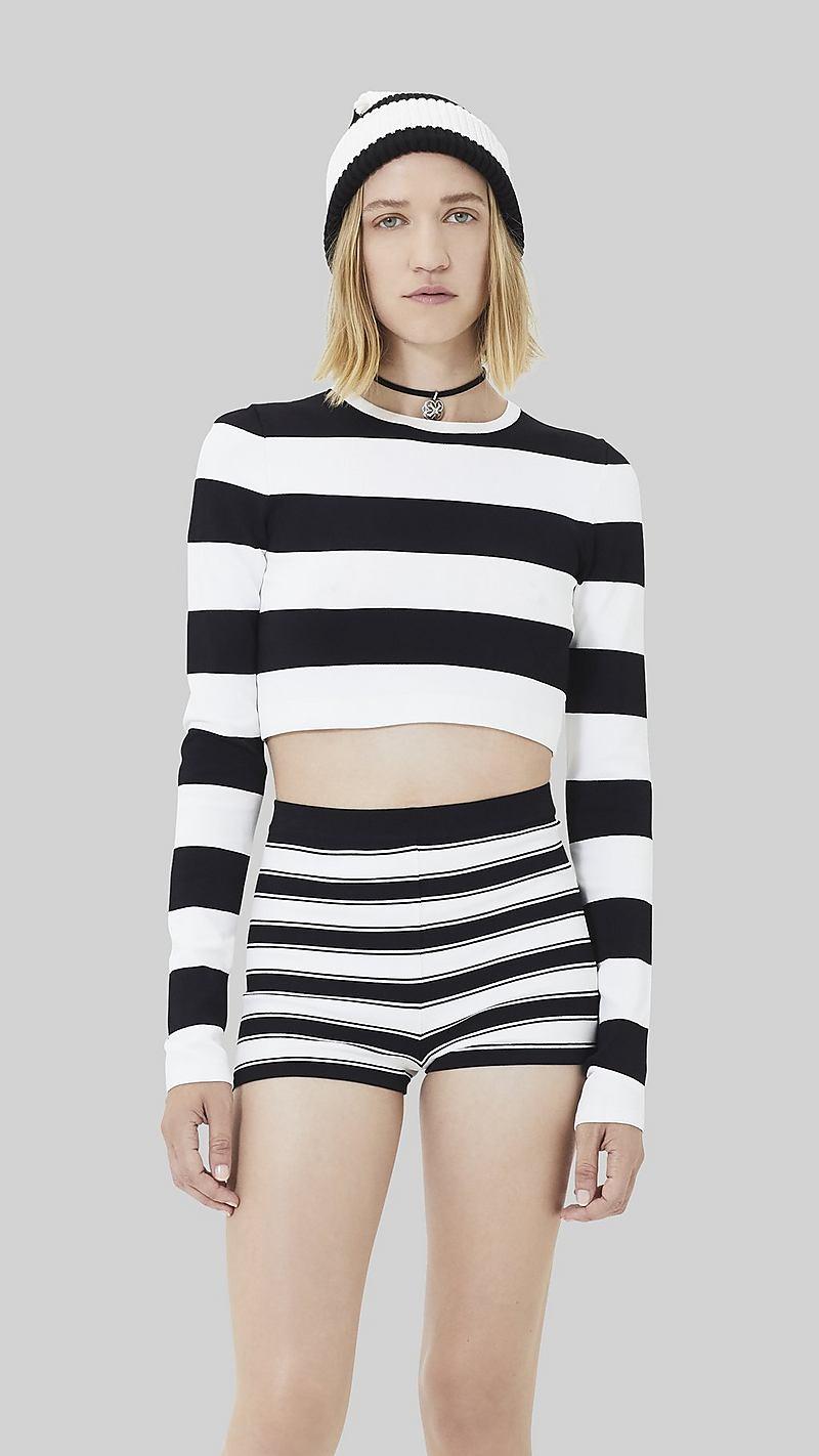 602bda8e6e6 Wide Striped Long-Sleeve Crop Top