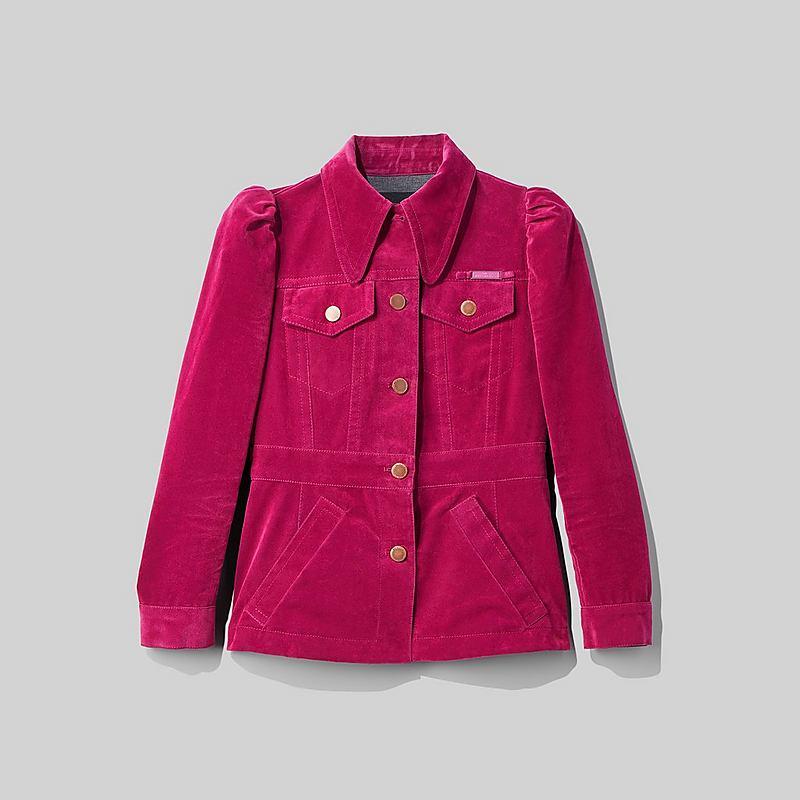 Marc Jacobs The Velveteen Jean Shirt Jacket In Fuchsia