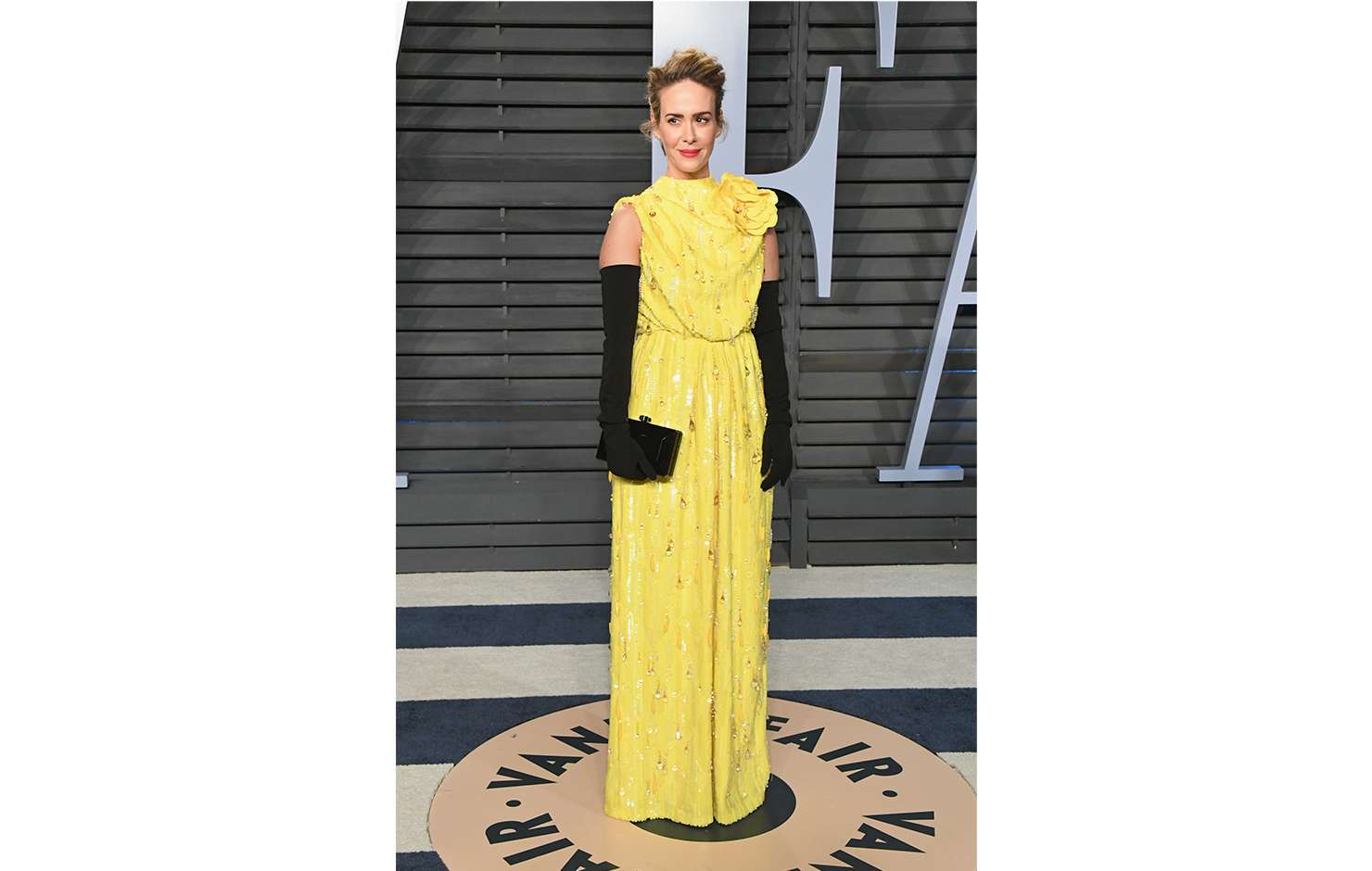 Sarah Paulson wearing Marc Jacobs Spring 2018 at the Vanity Fair Oscar Party