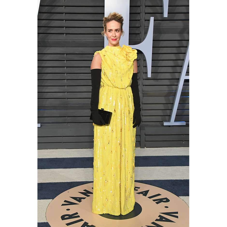 Sarah Paulson wearing Marc Jacobs Spring 2018 at the Vanity Fair Oscar Party in Beverly Hills, California.