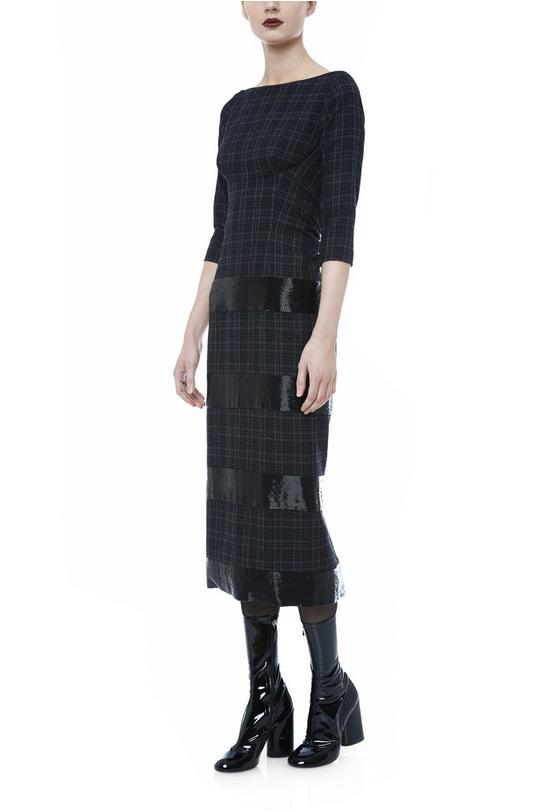 ¾ Sleeve Boat Neck Dress with Bugle Detail
